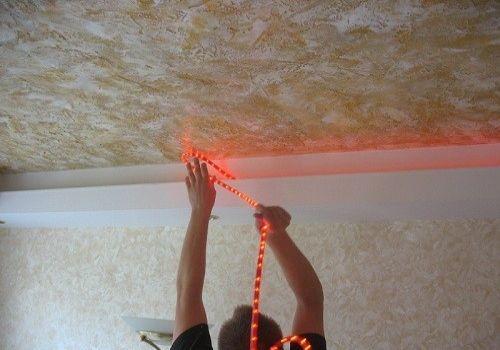 Светодиодная подсветка натяжного потолка своими руками