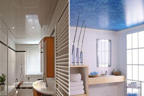 Натяжной потолок в ванной и гостиной